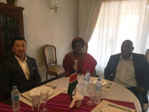 Bright and Ziping with the Namibian Ambassador to Zimbabwe