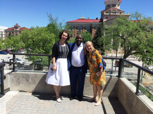 Bright with Lisa and Sujitra during his tour at the University of Manitoba in Canada